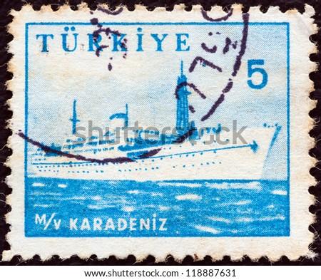TURKEY - CIRCA 1959: A stamp printed in Turkey shows liner Karadeniz, circa 1959. - stock photo