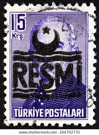TURKEY - CIRCA 1955: A stamp printed in Turkey shows Mustafa Ismet Inonu, circa 1955. - stock photo