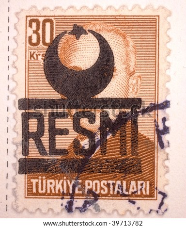 "TURKEY - CIRCA 1961: A stamp printed in Turkey shows ""RESMI"", series, circa 1961"