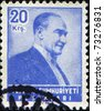TURKEY-CIRCA 1955: A stamp shows image portrait Mustafa Kemal Ataturk was a Turkish, statesman, writer, and founder of the Republic of Turkey, as well as the first Turkish President, circa 1955 - stock photo