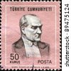 TURKEY-CIRCA 1970: A stamp shows image portrait Mustafa Kemal Ataturk was a Turkish, statesman, writer, and founder of the Republic of Turkey, as well as the first Turkish President, circa 1970 - stock photo