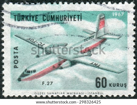 TURKEY - CIRCA 1967: Postage stamp printed in Turkey, depicted Fokker F27 Friendship, circa 1967 - stock photo