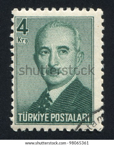TURKEY - CIRCA 1948: stamp printed by Turkey, shows Mustafa Ismet Inonu, President, circa 1948.