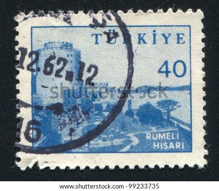 TURKEY - CIRCA 1951: stamp printed by Turkey, shows Rumeli Hisari Fortress., circa 1951 - stock photo