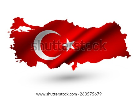 Turkey contour map with country flag. Raster version. - stock photo
