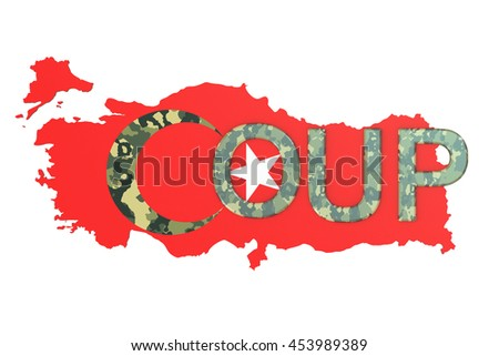 Turkey coup concept, 3D rendering isolated on white background
