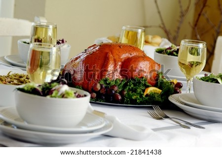 Turkey dinner table setup - stock photo