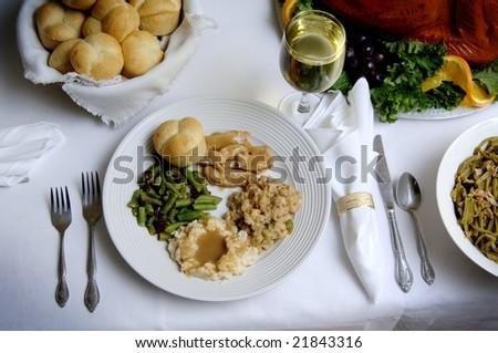 Turkey dinner table setup - stock photo