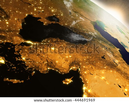 Turkey during sunrise as seen from Earth's orbit in space. 3D illustration with highly detailed realistic planet surface, clouds and city lights. Elements of this image furnished by NASA.