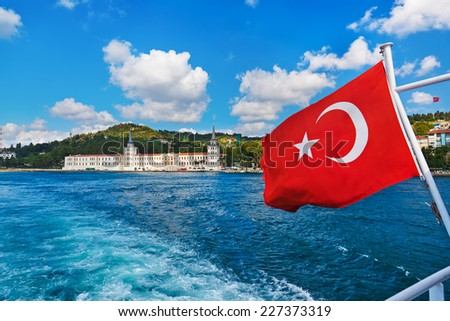 Turkey flag and Istanbul view - travel background - stock photo