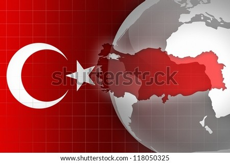 Turkey flag and map news background - stock photo