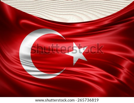 Turkey flag and wood background