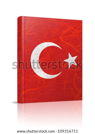 Turkey flag book. Mulberry paper on white background. - stock photo