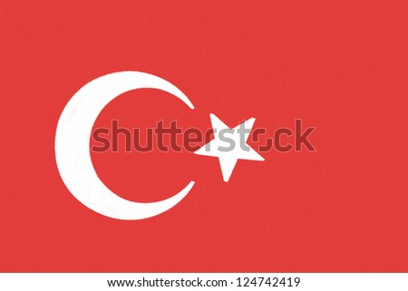 Turkey flag drawing by pastel on charcoal paper - stock photo