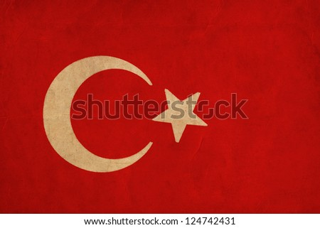 Turkey flag drawing ,grunge and retro flag series - stock photo