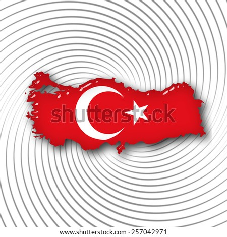 Turkey flag,map with gray and white background