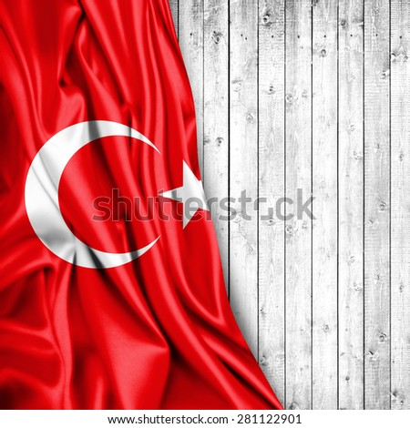 Turkey flag of silk and wood background