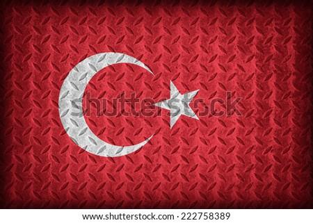 Turkey flag pattern on the diamond metal plate texture ,vintage style - stock photo
