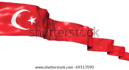Turkey flag ribbon high in the sky. 3d concept illustration - stock photo