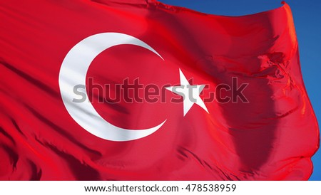 Turkey flag waving against clean blue sky, close up, isolated with clipping path mask alpha channel transparency