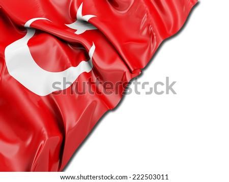Turkey Flag with white - stock photo