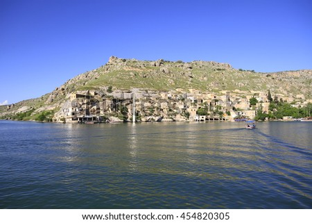 TURKEY GAZIANTEP ; 27 JUNE 2016 , Sunken Village in Halfeti (Rumkale), Gaziantep - Turkey