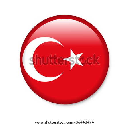 Turkey - glossy button with flag - stock photo