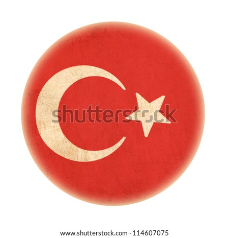 Turkey grunge  flag drawing button - stock photo
