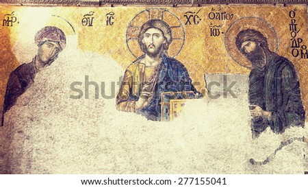 "TURKEY, ISTANBUL - APRIL 30, 2015: Byzantine mosaic ""Deesis"" of the southern gallery Hagia Sophia of Constantinople. The second half of the XIII century - stock photo"