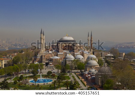 TURKEY ISTANBUL ; APRIL 05, 2016, the minaret Blue Mosque, Hagia Sophia and Istanbul views ..