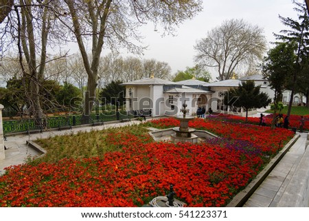 TURKEY, ISTANBUL - APRIL 08, 2016: The view of the one of the Kiosks, which is situated on the territory of The Topkapi Palace. The Topkapi Palace is a large palace in Istanbul, Turkey