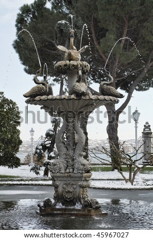 Turkey, Istanbul, Beylerbeyi Palace, a fountain in the palace garden - stock photo