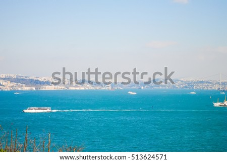 TURKEY, ISTANBUL - JANUARY 07/2013: tourists visited the coast of the Bosporus during the Christmas holidays.