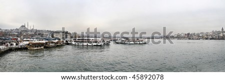 Turkey, Istanbul, panoramic view of the Golden Horn and the city - stock photo