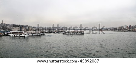 Turkey, Istanbul, panoramic view of the Golden Horn and the city
