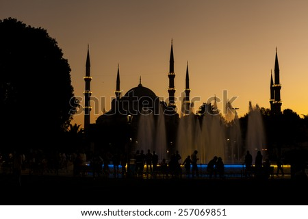 TURKEY, ISTANBUL 24 SEPTEMBER 2014 - Sunset on Blue Mosque