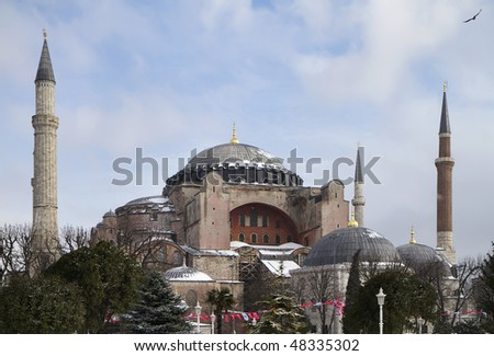 Turkey, Istanbul, St. Sophia Cathedral while snowing (built in the 4th century by Costantine the Great and reconstructed in the 6th century by Justinian)
