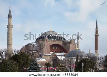 Turkey, Istanbul, St. Sophia Cathedral with the snow (built in the 4th century by Costantine the Great and reconstructed in the 6th century by Justinian) - stock photo