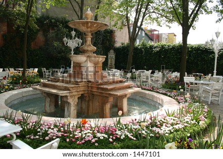 Turkey. Istanbul, the Fountain in a court yard.