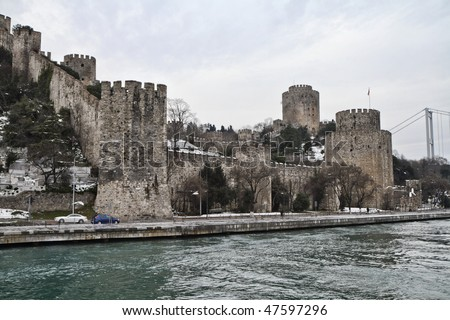 Turkey, Istanbul, the Rumeli Fortress seen from the Bosphorus Channel, built by Mehmet the Conqueror in 1452 to control and protect the Channel
