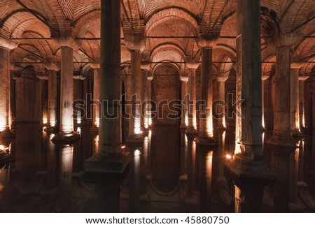 Turkey, Istanbul, The underground Basilica Cistern, built by Justinianus in the 6th century, is still in use and remains an important supply of sweet water for the city