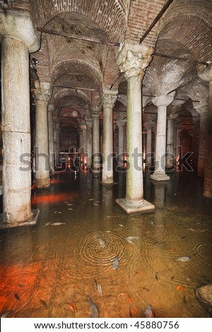 Turkey, Istanbul, The underground Basilica Cistern, built by Justinianus in the 6th century, is an important supply of sweet water for the city. Many types of fish live in the cistern clean waters - stock photo