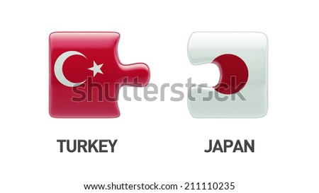 Turkey Japan High Resolution Puzzle Concept - stock photo