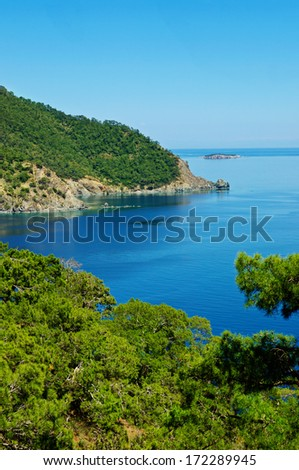 Turkey  landscape with blue sea, sky, green hills and mountains