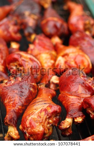 Turkey legs on barbecue (selective focus) - stock photo