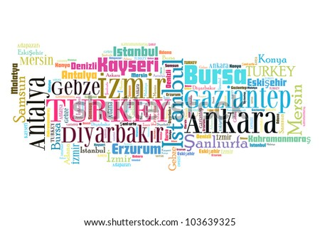 Turkey map and words cloud with larger cities - stock photo