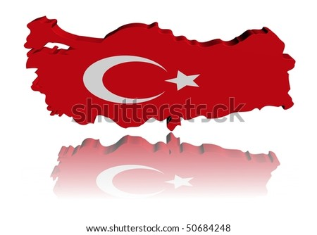 Turkey map flag 3d render with reflection illustration