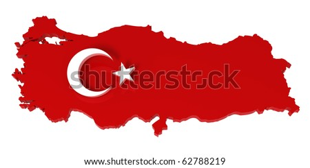 Turkey, map with flag, with clipping path. 3d illustration, isolated in white - stock photo