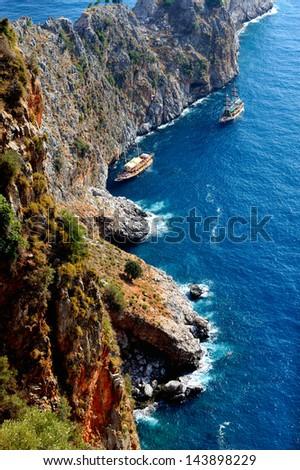 Turkey, Mediterranean Sea, excursion boats - stock photo