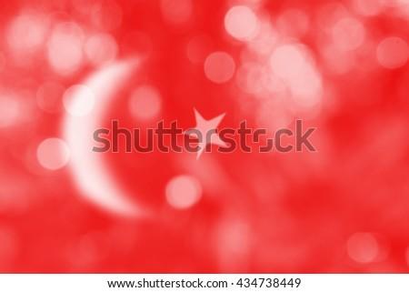 TURKEY : National flag. Soft blurred bokeh natural background. Abstract gradient desktop wallpaper.  - stock photo